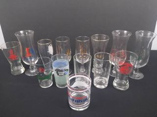 lot of 14 drinking glasses