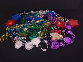 lot of party necklaces and 7 noisemakers