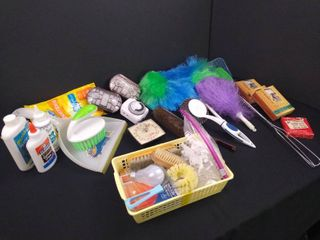 lot of misc  home supplies including 2 fly swatters  small dustpan  2 dusters  assorted light bulbs and scrubbers