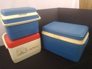 lot of 3 hard plastic coolers  2 small and one large