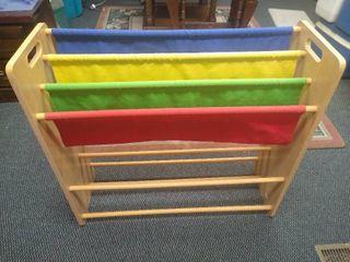 large kids sling book rack organizer 31 in H X 33 1 2 in W X 11 1 2 in D