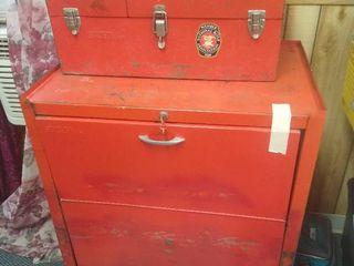 Stack On Tool Box on cart  lower   36 in H X 26 1 2 in W X 18 in D   Upper   10 in H x 22 in W X 11 1 2 in D