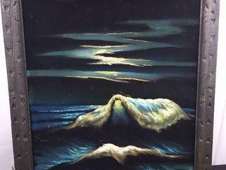 Midnight rolling waves velvet wall art   38 1 2 in H X 32 in W