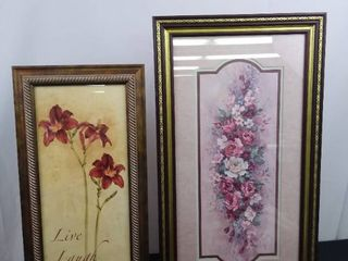 lot of 2 hanging floral wall decor   lavender floral 27 1 2 in H X 15 in W     live laugh love 23 in H X 11 in W