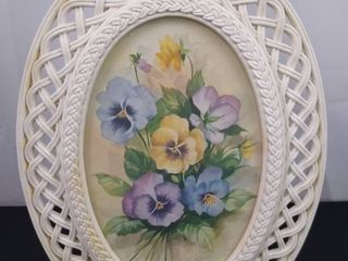 Hanging floral decor with wicker style frame 17 in H