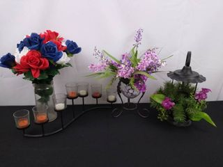 lot of 4 assorted pieces of home decor including 2 faux flower holders  metal 7 candle holder and tea light lantern