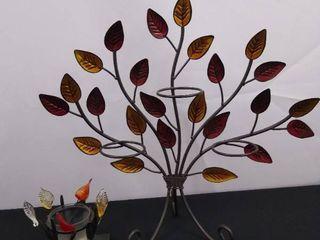 lot of 2 piece similar metal leaf design decorative candle holders