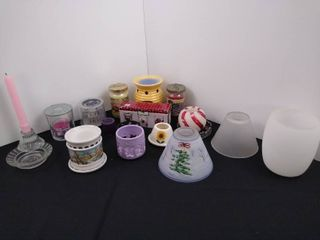 large lot of candle supplies including 2 tea light wax warmers  misc  candle holders and a couple candles