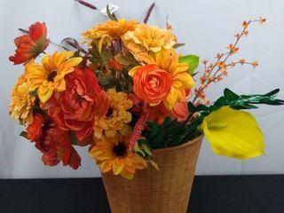large decorative faux flower arrangement in a wicker basket 19 in H