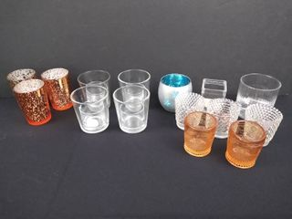 lot of 18 assorted glass candle holders