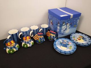 Christmas gift box with 4 matching snowman plates and matching cups with toppers