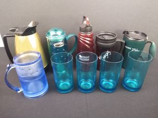 lot of 10 assorted plastic cups  4   portable cups 5   drinking cups and an insulated coffee pot
