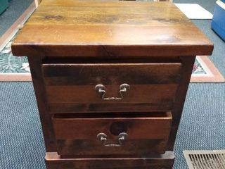 2 drawer wooden end table 22 in H X 21 in W X 17 in D