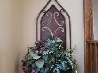 large Hanging Metal Wall Decor Piece w  Faux Plants
