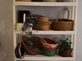 large lot of Assorted Wicker Baskets   Faux Plants