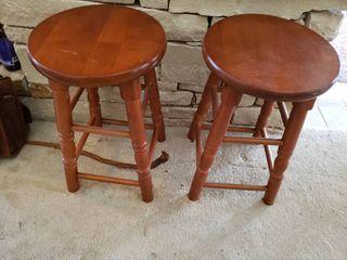 Pair of Wooden Bar Stools   21  Tall