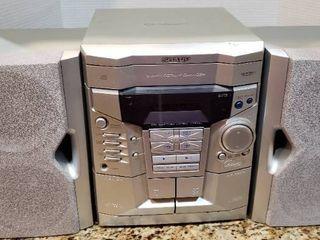 Sharp 3 Disc Dual Cassette Boombox Stereo System   Model CD E500