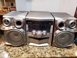 JVC 5 Disc Dual Cassette Boombox Stereo System   Model MX GA77
