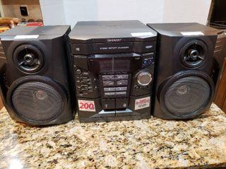 Sharp 3 Disc Dual Cassette Boombox Stereo System   Model CD E67