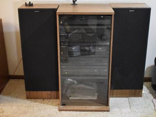 Complete Sony Entertainment System   Comes with 2 Tall Speakers  Turntable  PS lX 100  Amplifier  TA AX380  Double Cassette Deck  TC W301  AM FM Tuner  ST JX380  CD Player  CDP C20    Manuals   Cabinet   19  W x 16 5  D x 36 5  T