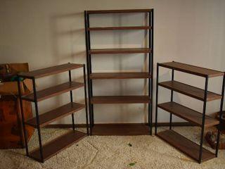 lot of 3 Wood   Metal Shelves