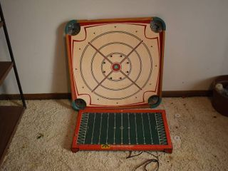 lot of 2 Toy Game Tables   Tudor Tru Action Electric Football Game   Carrom Game Board