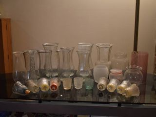 large lot of Glass Vases   Small Glass Candle Holders