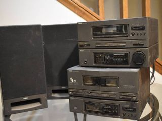 Set of 4 RCA Electronics   Tuner Amplifier Combo  Dual Cassette Deck CD Player Combo    2 Speakers