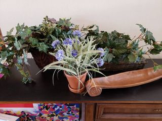 lot of Faux Flowers  Tray   Decor