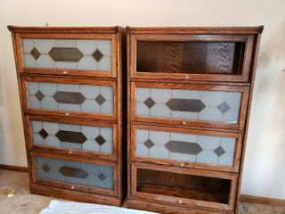 Pair of Barrister Bookcases  One missing some glass