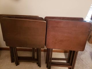 lot of 6 Folding Wooden TV Tray Tables   3  T x 2  W