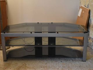 large Metal   Glass TV Entertainment Stand   58 5  W x 24  D x 22  T