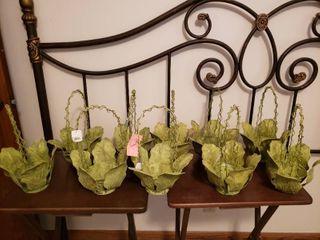 Metal Cabbage lettuce leaf Baskets  lot of 9