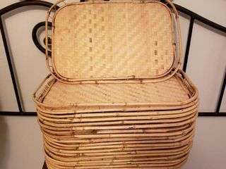 large Set of Wicker Trays  1 of 2