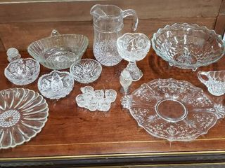 Pressed Clear Glass Dishes   Assortment of Styles