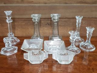 Clear Glass Candlesticks and Pair of Etched Crystal Cream Sugar