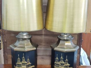 Pair of Oriental Design Metal Base lamps w Gold Paper Shades   32 5 in tall   both work