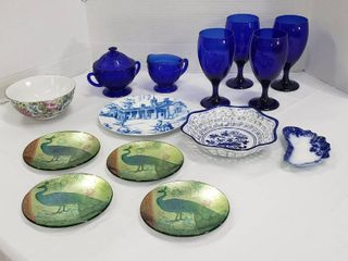 Assortment of Dishes  Blue Glasses  Blue Cream Sugar Set  Plates and Bowls