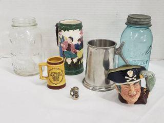 Beer Mugs and 2 Vintage Qt  Canning Jars