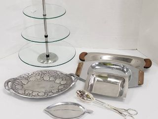 Party Kitchen Serving Dishes  Glass 3 Tier Server  2 Aluminum Decor Trays  3 Stainless Steel Servers and Silverplated Tongs