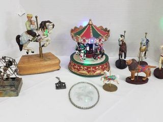 Carousel Decor  Metal  Ceramic  Glass and Plastic   music boxes work   one horse chipped  see pix