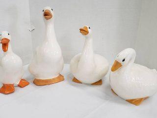 4 large Ceramic Ducks   2 chipped