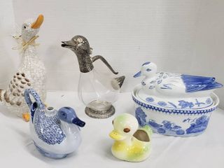 Duck Decor  4 Ceramic and 1 Glass Die cast Decanter