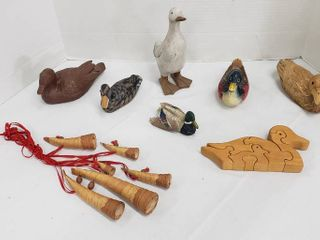 Duck Decor  Wood Carved  Corn Husk  Crushed Walnut Resin and Resin