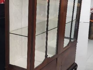 Vintage Queen Anne Style 2 Door Display Cabinet w 2 Thick Glass Shelves   Upholstery Added to Interior   56 5 x 16 x 85 in  tall   one Piece   No key