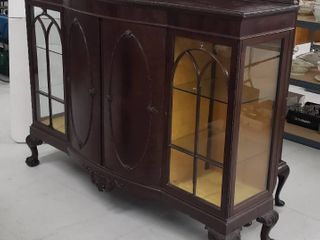 Antique Ornate Wood Buffet w Glass Display Cabinets w Glass Shelves   66 5 x 18 5 x 52 25 in  tall   couple ornate pieces missing   see pix   No Key