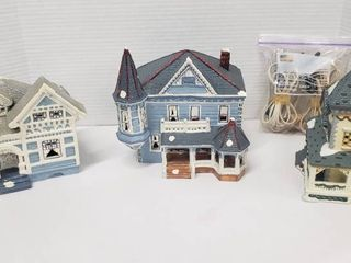 3 Ceramic Christmas Village Home w lights  2 Yuletide   1 Dickens   tallest one is 9 in  tall