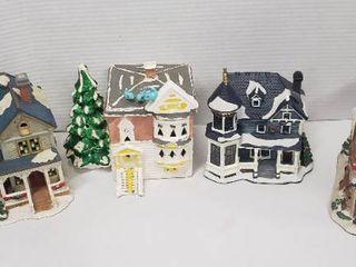 4 Ceramic Christmas Village Home w lights    1 Mervyn s  2 Unmarked   St  John Church  Electric 9v Plug   missing