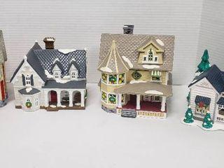 4 Department 56 Ceramic Snow Village Homes w lights