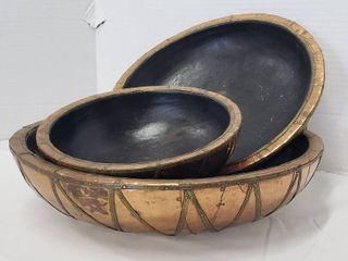 Set of 3 Copper Foil Wood Bowls